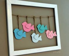 Do black/hot pick kids frames with opposite yarn and hang black/white/hot pink from it to match zebra print theme. WITH ELEPHANTS INSTEAD Bird Nursery, Baby Girl Nursery Themes, Baby Room Decor, Nursery Decor, Nursery Ideas, Room Ideas, Babies Nursery, Nursery Art, Decor Ideas