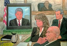 A court artist's illustration of President Clinton's 1996 video-taped testimony…
