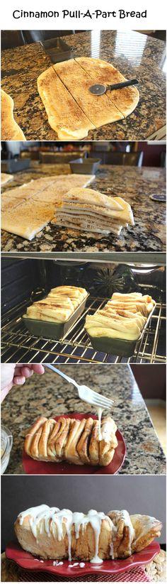 Cinnamon Pull-A-Part Bread: FILLING: 1/2 C butter, softened; 1 1/2 t cinnamon; 1 C brown sugar GLAZE: 2 C icing sugar; 3 T milk; 4 T butter, melted; 1 t vanilla