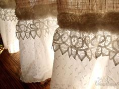 custom shabby rustic chic burlap shower curtain valance lace ruffle white french ebay
