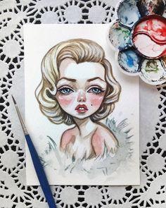 Marilyn Monroe Watercolor postcard Sold out #merilynmonroe #postcard #art #illustration #retro