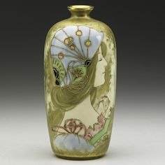 RIESSNER, STELLMACHER & KESSEL Glazed and enameled Amphora porcelain vase with maiden and blossoms, Austria,1890s