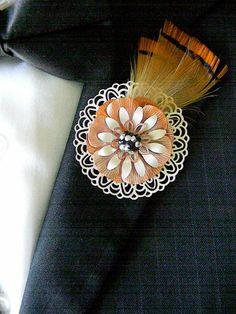 Unique Corsages and Boutonnieres | Metal Flower Boutonnieres Brooches Corsages Ivory Tangerine Pheasant ...