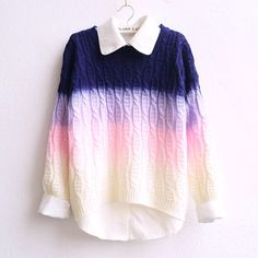 1 | 2 | use the code okaywowcool for 10% off! kawaii pastel pink ombre fairy kei fachin sweater top under30 free shipping discount storenvy cutey