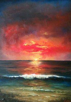 Sunrise.Oil on wooded board by Jesús Ojeda.
