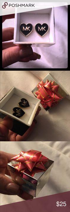 New Mk heart shape earrings gold/black New Mk heart shape earrings gold/black. Very elegant and classy. Michael Kors Jewelry Earrings
