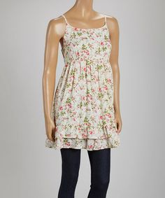 $22.99 Look at this #zulilyfind! Pink & Green Floral Ruffle-Hem Tunic by Just Funky #zulilyfinds