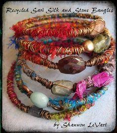 Sari de seda y piedra brazalete Tutorial por missficklemedia