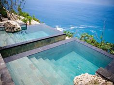 swimmingpool with natural tiles cliffs ege plunge pool with steps