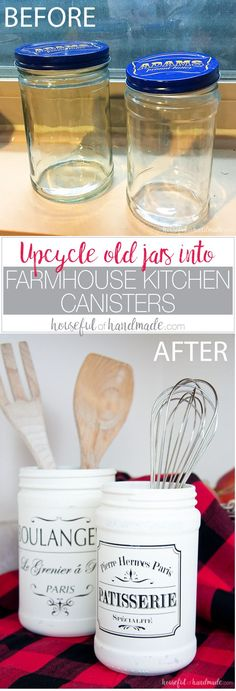Farmhouse Kitchen Canister DIY Turn old jars into something beautiful with your Silhouette with this month's Silhouette Creator's Challenge. Create a beautiful Farmhouse Kitchen Canister or two to bring lots of fixer upper charm to your kitchen. Easy Crafts To Make, Diy And Crafts, Simple Crafts, Easy Diy, Farmhouse Kitchen Canisters, Farmhouse Decor, Farmhouse Style, Kitchen Storage, Vintage Farmhouse