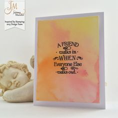 Inspired by Stamping, Joanna Munster, Words Of Inspiration stamp set, watercolor background, CAS card
