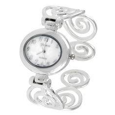 Geneva Platinum 6134 Polilshed Swirl Cuff Watch - SIL/MOP: Watches: Amazon.com
