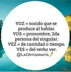 ORTOGRAFÍA (interesting: they used vos vs. tú)