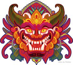 """Bali Mask"" Stickers by Aïda de Ridder Tibetan Dragon, Tibetan Art, Chinese Mask, Chinese Dragon, Barong Bali, Aztecas Art, Dragon Mask, Mask Drawing, Indonesian Art"