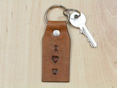 I Heart You Key Fob  Leather Key Chain  I by TinasLeatherCrafts. Repin To Remember.