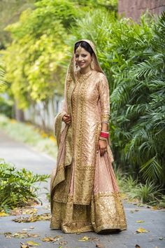 light pink, salmon , gold, gota patti, sikh bride, bridal sharara, anarkali, layered, jacket, front slit, engagement