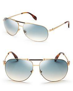 Alexander McQueen Aviator Sunglasses   Bloomingdale's