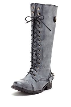Knee High Lace Up Combat Boot by Bucco