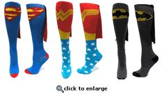 "Mud run socks- I say wonder woman! Superhero Womens Knee High Cape Sock - how cool for a ""wonder"" run! Superman Cape, Batman And Superman, Superman Logo, Batman T Shirt, Batman Socks, Superhero Capes, Superhero Halloween, Amazon Clothes, Superman Wonder Woman"