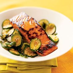 Teriyaki salmon with zucchini. Adding a small side of whole-grain rice gives a carbohydrate boost. Salmon, like other fish, is high in omega-3 fatty acids, which helps with brain function and heart health.| Health.com