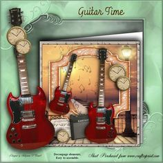 Guitar Time mini kit on Craftsuprint designed by Sallyanne O'Connell - A great card to make that is easy to make up , would suit male or female and occasion. Lovely once done. Matching Insert also available for purchase.Cut out smaller portions and attach to the main image using silicone or sticky pads. Thank you for looking and or purchasing. Please click on my name to see more of my wonderful designs...Sallyanne... - Now available for download!