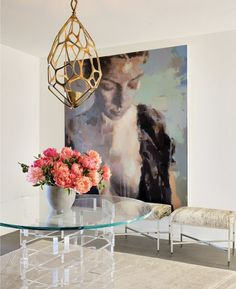 Brass and lucite - oversized art - definitely painting a mural of my fav piece if I ever get a house :P Interior Inspiration, Design Inspiration, Interior Ideas, Deco Addict, Wall Decor, Wall Art, Entryway Decor, Entryway Lighting, Wall Lamps