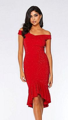 2460d80d55908 Quiz - Red glitter Bardot dip hem dress Red Glitter