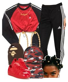 """7/26/16"" by jasmineharper ❤ liked on Polyvore featuring adidas, Lisa Stewart, A BATHING APE and adidas Originals"
