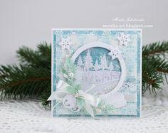 Christmas card with snow globe - Scrapbook.com  So very beautiful!
