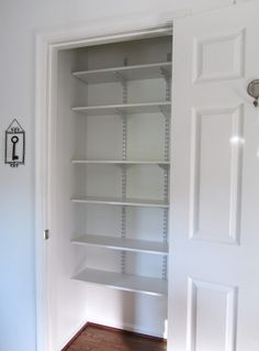 Linen closet...great idea for adjustable shelving!