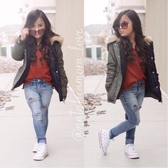 """⠀⠀⠀⠀Natalie ❃ Amora ❃ Love on Instagram: """"It's getting cold outside This parka jacket from @guess keeps her warm and is so stylish get yours today it's on sale!! and theses studded white converse from @spikedcons are a must in everybody's closet we can't forget the cat eye sunnie from @fashionkidstore #ootd"""""""