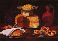 Clara Peeters - Still life with cheesestack bread napkin and  pretzels.jpg - By Clara Peeters - https://rkd.nl/en/explore/images/195408, Public Domain, https://commons.wikimedia.org/w/index.php?curid=38484594