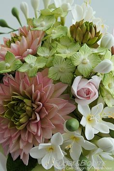 Sugar flower cake, sugar dahlias, sugar freesias and hydrangeas