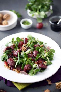 Salade de gésier, mâche, raisin et caramel balsamique | chefNini