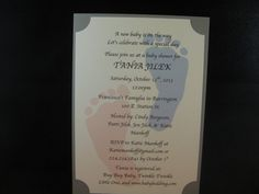 Footprint Printed Baby Shower Invitation for a baby boy or baby girl on Etsy, $26.00