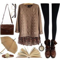 Outfit #1 - Black Sweater [Tuck-in] - Cream Floral Skirt - Black Leggings - Black Boots - Beige Infinity Scarf #vintagefashion #vintagelook