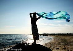 Senior Portrait- Beach Sunset Silhouette-  Flowing scarf.  Beautiful!  <3