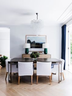 Formal dining room from a timeless family home with a touch of luxe designed by Natasha Levak. Photo: Maree Homer | Story: Belle
