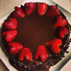 My first chocolate ganache cake - strawberry hearts