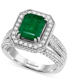 EFFY Emerald (2-1/5 ct. t.w.) and Diamond (1-1/10 ct. t.w.) Ring in 14k White Gold - Gemstones - Jewelry & Watches - Macy's