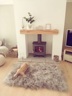 Most recent Photo Fireplace Mantels beam Style A great photo from one of our happy customers of their Classic Oak Beam finish in Light Wax. Home Living Room, Home, Living Room With Fireplace, Oak Fireplace, Living Room Diy, Log Burner Living Room, House Interior, Cottage Living Rooms, Cosy Living Room