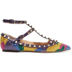 Valentino - Embellished Leather Point-toe Flats (20.150 ARS) ❤ liked on Polyvore featuring shoes, flats, multi, flat pointed-toe shoes, colorful shoes, leather flat shoes, flat shoes and leather pointed toe flats