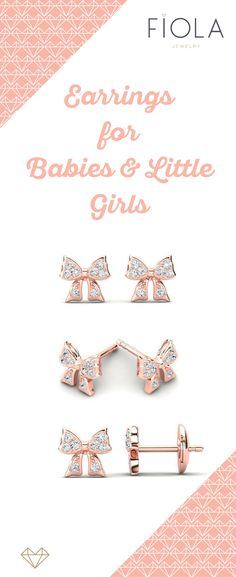 Enchanting little bow earrings by Fiola Jewelry for little girls & babies feature real sparkly diamonds on the ribbon in solid rose gold & secure backing. Toddler Jewelry, Baby Jewelry, Kids Jewelry, Gold Diamond Earrings, Diamond Stud, Diamond Bracelets, Baby Earrings, Kids Earrings, Stud Earrings