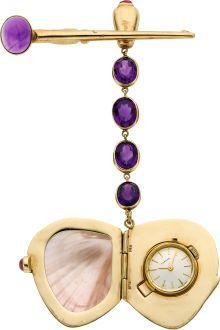 """Cartier Unusual Gold, Shell, Amethyst & Ruby Pin Watch Case: 40 mm x 32 mm iridescent shell in a 14k gold frame with inner hinged 18k gold 17 mm case for the movement, suspended from a 14k chain set with amethyst ruby cabochons in the push button and upper bale, 14k gold tapered pin with an amethyst cabochon Dial: silver, gold bar markers, gold batons Movement: caliber 2412, 17 jewels, manual, ETA Signed: dial and movement signed Cartier, inner case No. 19302, shell case and pin marked """"Stix"""