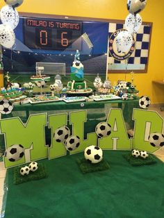 Soccer Theme Birthday Party Ideas | Photo 2 of 12 Unicorn Birthday Parties, 7th Birthday, Birthday Party Themes, Birthday Ideas, Soccer Theme Parties, Soccer Party, Football Birthday Cake, Soccer Fifa, Themes Photo