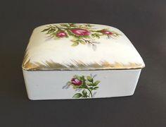 Vintage Porcelain Trinket Box Casket Box Fern Japan Rose Moss Decor