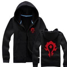 World of Warcraft sweatshirt for men Horde zip up hoodie long sleeve