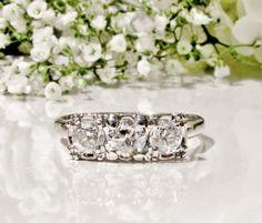 Antique Three Stone Engagement Ring 0.76ctw European Cut Diamond Wedding Ring 14K White Gold Anniversary Ring Art Deco Engagement Ring Sz 7!