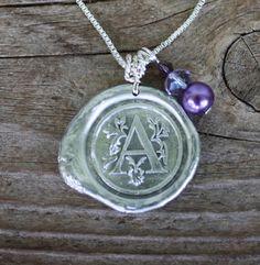 Wax Sea Necklace Custom Monogramed Initial Sterling by Okrrah, $49.00