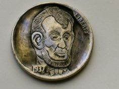 By Joe Gallagher-Lincoln Hobo Nickel, Caricature, Lincoln, Buffalo, Hand Carved, Presidents, Coins, Carving, Personalized Items